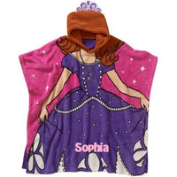 Sofia the First Princess Super Soft Plush Fleece Hooded Poncho Blanket - Personalized