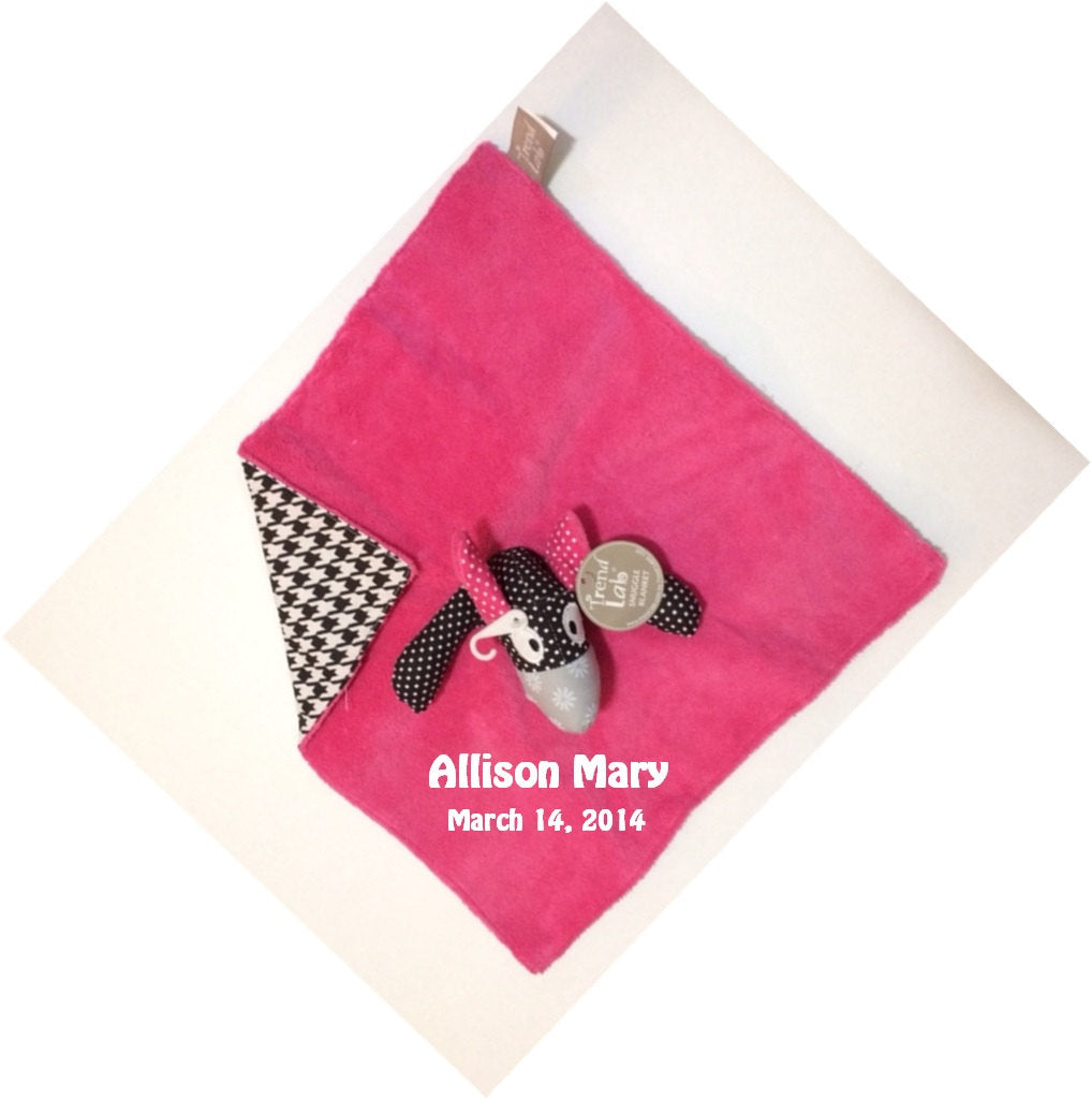Trend Lab Serena Puppy Dog Blanket Security Blanket Lovey - Personalized