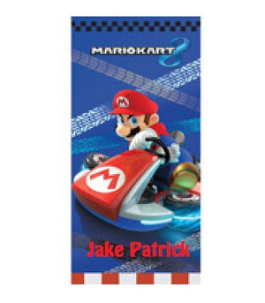 "Nintendo Super Mario ""Race to Win"" Beach Towel Personalized"