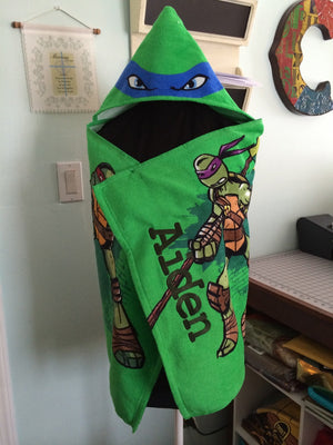 TMNT Teenage Mutant Ninja Turtles Hooded Towel Wrap  – Personalized