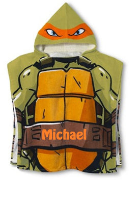 TMNT Teenage Mutant Ninja Turtles Hooded Poncho Towel  Orange Michelangelo – Personalized