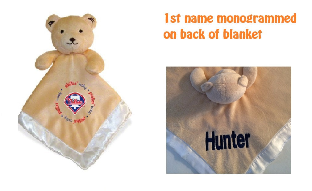 Philadelphia PHILLIES MLB Security Bear Blanket Lovey - Personalized
