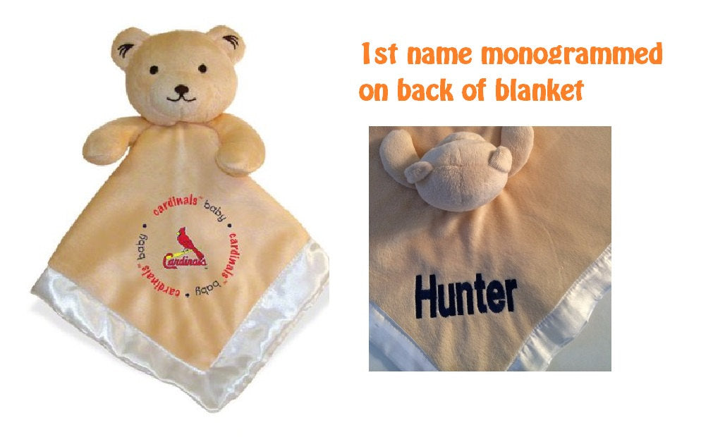 St. Louis CARDINALS MLB Security Bear Security Blanket Lovey - Personalized