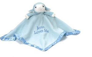 Blue Lamb Plush Blanket - Precious Moments Security Lovey Jesus Loves me- Personalized