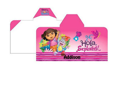 Dora The Explorer Happy Explorer Hooded Towel Wrap Personalized
