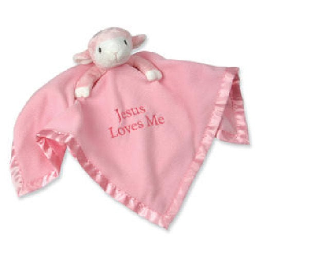 Pink Lamb Plush Blanket - Precious Moments Security Lovey Jesus Loves me- Personalized