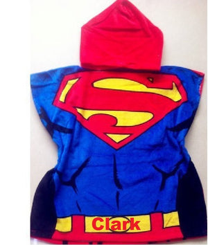 SUPERMAN Hooded Beach Towel Poncho - Personalized
