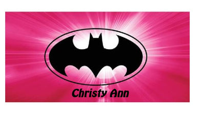 BATMAN BATGIRL BAT Woman Bat girl Burst PINK Beach Towel Personalized