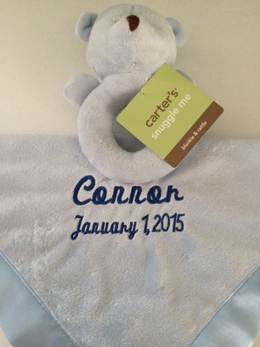 Baby Boy Carter's Blue Bear Security Blanket Lovey - Personalized