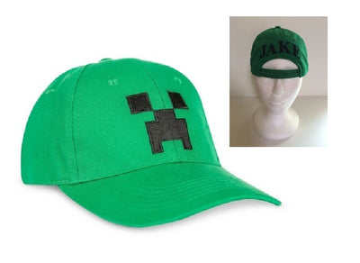 Boys' Green Minecraft Creeper Flex Baseball Hat Cap – Monogrammed Personalized