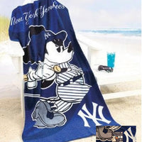 Mickey Mouse MLB New York Yankees Beach Towel - Personalized