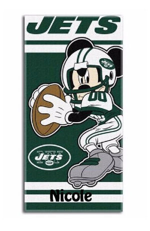 NFL Disney Quarterback Mickey Mouse New York JETS Beach Towel Personalized