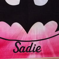 BATMAN BATGIRL Bat girl Burst PINK Beach Towel Personalized