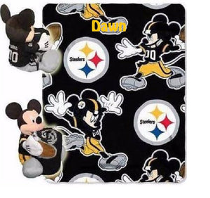 Disney Mickey Mouse NFL STEELERS Fleece Throw Blanket & Plush Mickey Hugger - Personalized