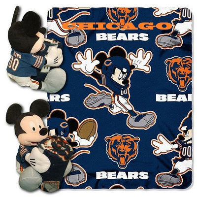 Disney Mickey Mouse NFL Chicago BEARS Fleece Throw Blanket & Mickey Hugger - Personalized