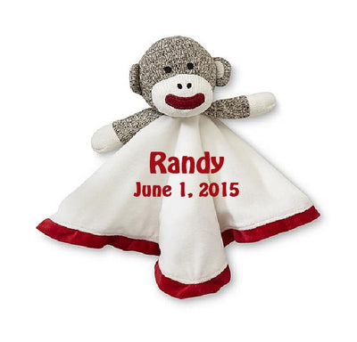 Sock Monkey Snuggle Security Bear Security Blanket Lovey - Personalized