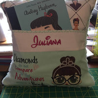 "Audrey Hepburn Big Dreams Pocket Pillow Reading Pillow ""Diamonds do not Compare to the Adventures within a Book"" -  Personalized"