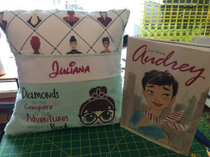"Audrey Hepburn Pocket Pillow Reading Pillow ""Diamonds do not Compare to the Adventures within a Book"" -  Personalized"