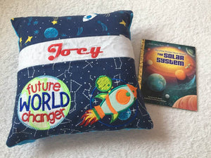 "The Solar System Pocket Pillow Reading Pillow ""Future World Changer"" -  Personalized"