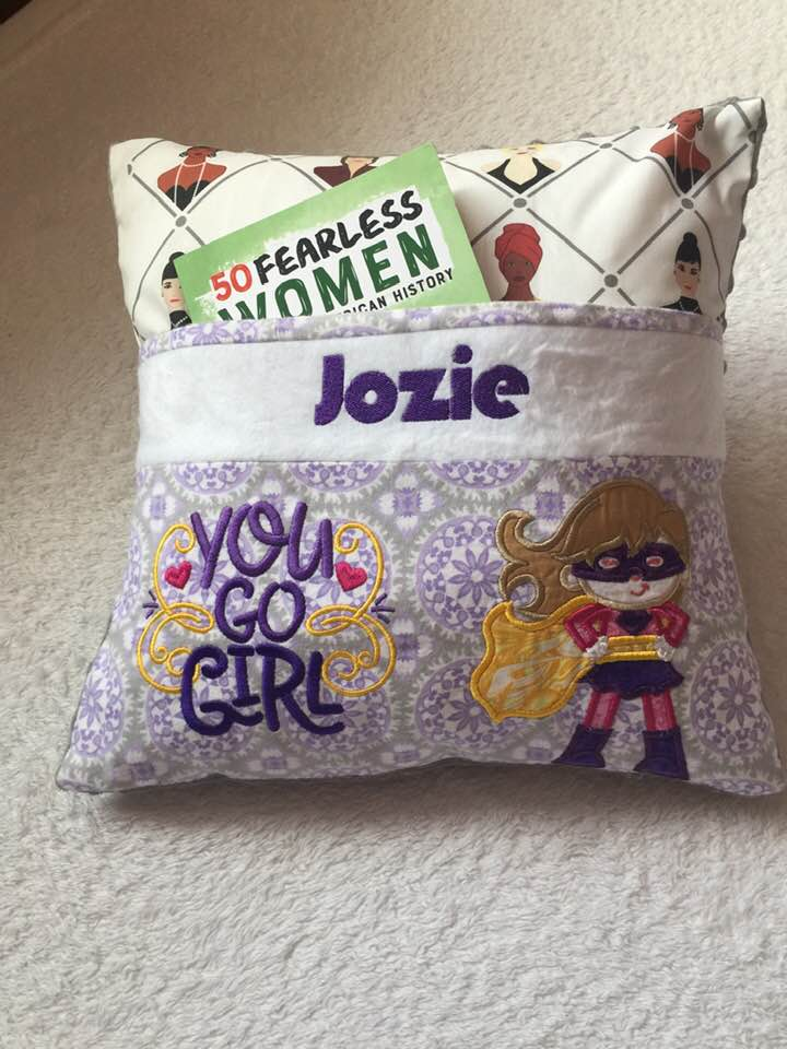 "50 Fearless Women Pocket Pillow Reading Pillow ""You Go Girl"" -  Personalized"