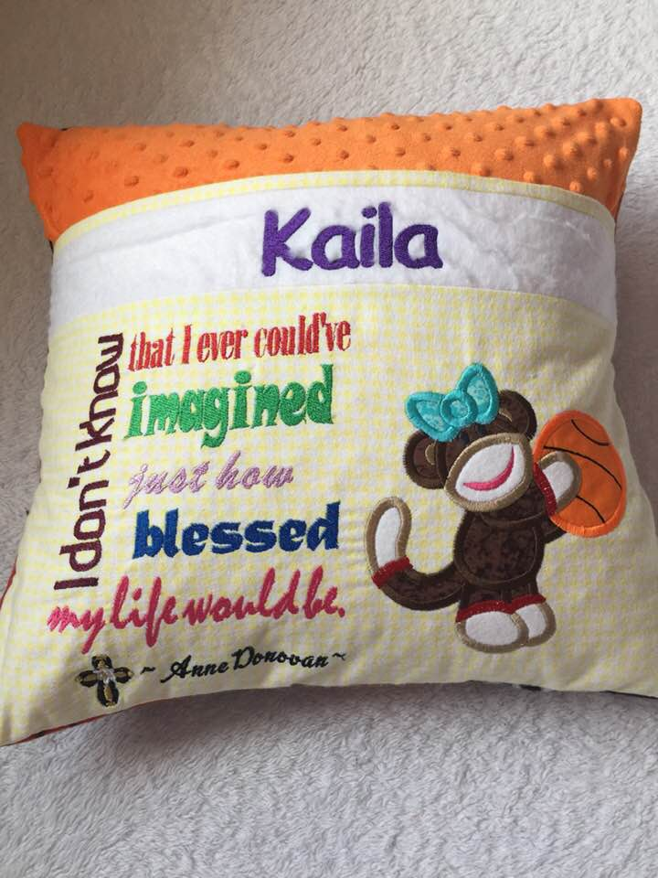 Girls Basketball Pocket Pillow Reading- Personalized