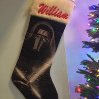Star Wars Kylo Ren Christmas Stocking 20 inch Quilted Stocking - Personalized T8