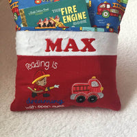 "The Fire Engine Fire Truck Book Pocket Pillow Reading Pillow ""Reading is Dreaming with open Eyes"" - Personalized"