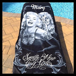 Marilyn Monroe Smile Now Cry Later Beach Towel Sugar Skull Ghost - Personalized
