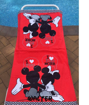 Disney Mickey Minnie Mouse Bath Towel & Washcloth - Personalized