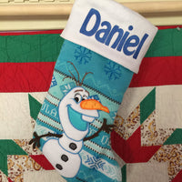"FROZEN Olaf 21"" Knit Christmas Stocking Plush Cuff - Personalized T9"