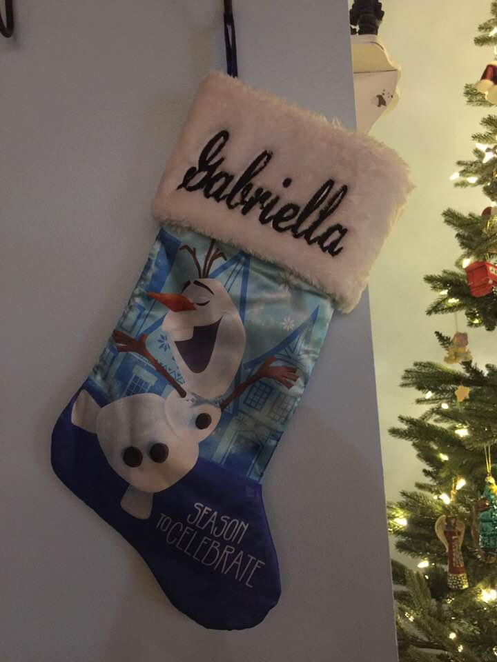 "Frozen OLAF 20"" Snow Magic Satin Christmas Stocking Plush Cuff - Personalized - T5"
