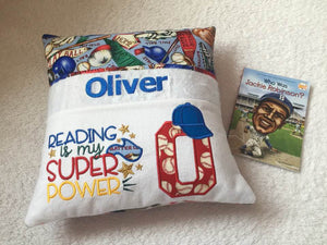 "Brooklyn Dodgers Baseball - Jackie Robinson Pocket Pillow Reading Pillow ""Reading is My Super Power"" - Personalized"