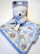 Blankets & Beyond White Teddy Bear with Blue Owls Blanket Lovey - Personalized