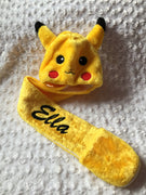 POKEMON Pikachu hat with scarf mittens - Personalized