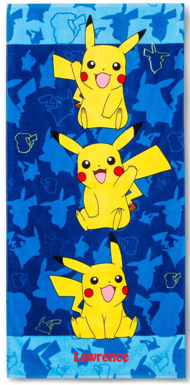 Pikachu Pokemon Beach Towel - Personalized