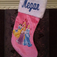 "Princess Snow White Cinderella 18"" Velvateen Christmas Stocking Plush Cuff - Personalized T4"