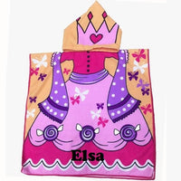 Beach Pink PRINCESS Hooded Cotton Poncho Beach Towel Personalized