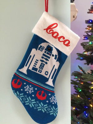 Star Wars R2D2 Droid Christmas Stocking 20 inch Knit Stocking - Personalized T8