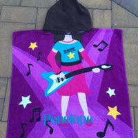 Guitar playing Girl Rock Star Cotton Beach Poncho Towel - Personalized