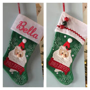"20"" Appliqued Christmas Stocking Santa Believe Personalized T15"