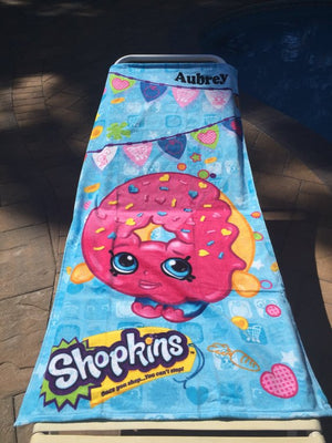 SHOPKINS Delish Donut Shopaholic Beach Towel - Personalized
