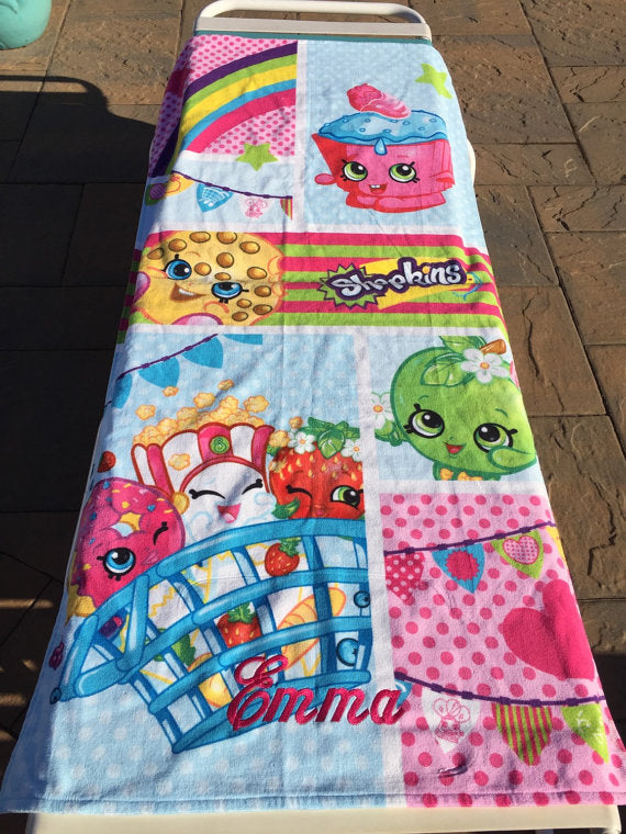 SHOPKINS Shopping Cart Shopaholic Beach Towel - Personalized