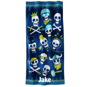 Skulls Cotton Beach Towel - Personalized