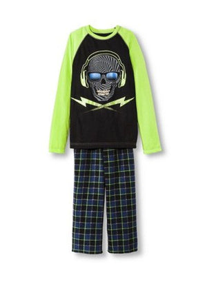 Boys Christmas Holiday Pajama Set Skull Head with headphones