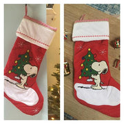 Snoopy Red Quilted Christmas Stocking- Personalized T18