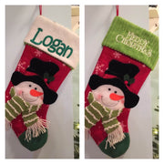 "20"" Appliqued 3D Snowman Black Hat Christmas Stocking Personalized T16"