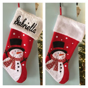 "20"" Appliqued Full Body Snowman Christmas Stocking Plush Cuff Personalized T16"