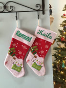 "20"" Appliqued Sleighing Snowman Christmas Stocking Plush Cuff Personalized T16"