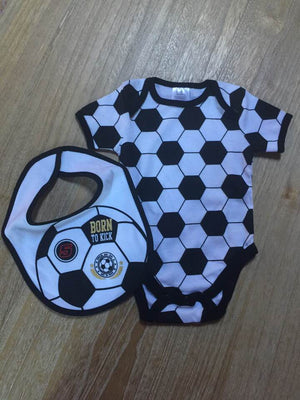 Tender Kisses Soccer Born to Kick Baby Bodysuit with Bib Size 0-3 months