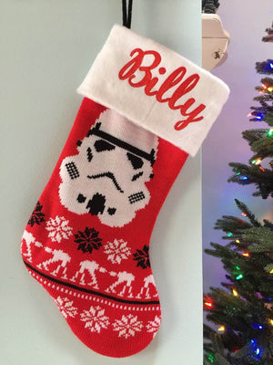 Star Wars Storm Trooper Christmas Stocking 20 inch Knit Stocking - Personalized T8